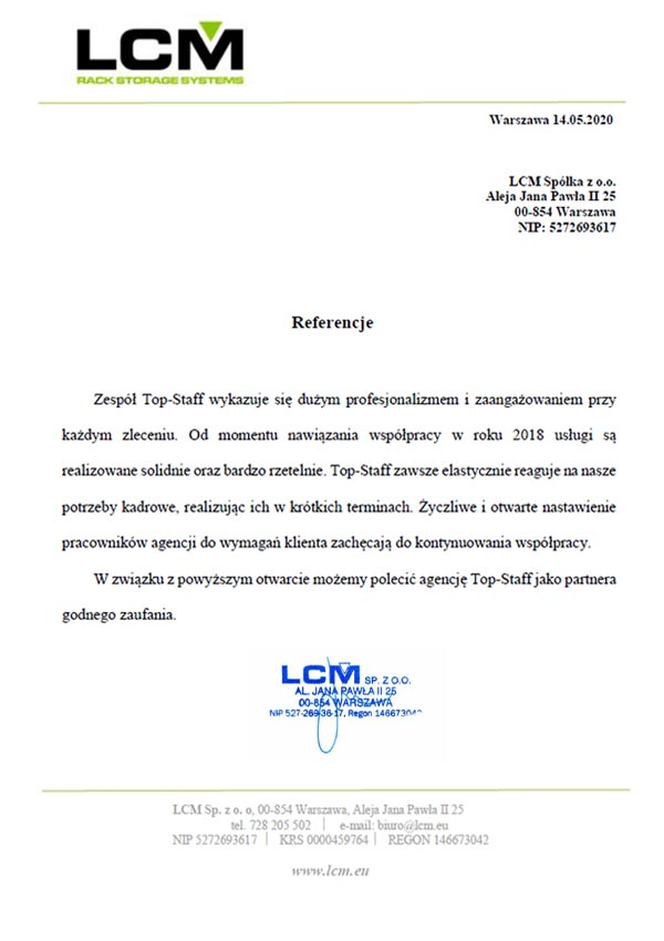 Referencje LCM