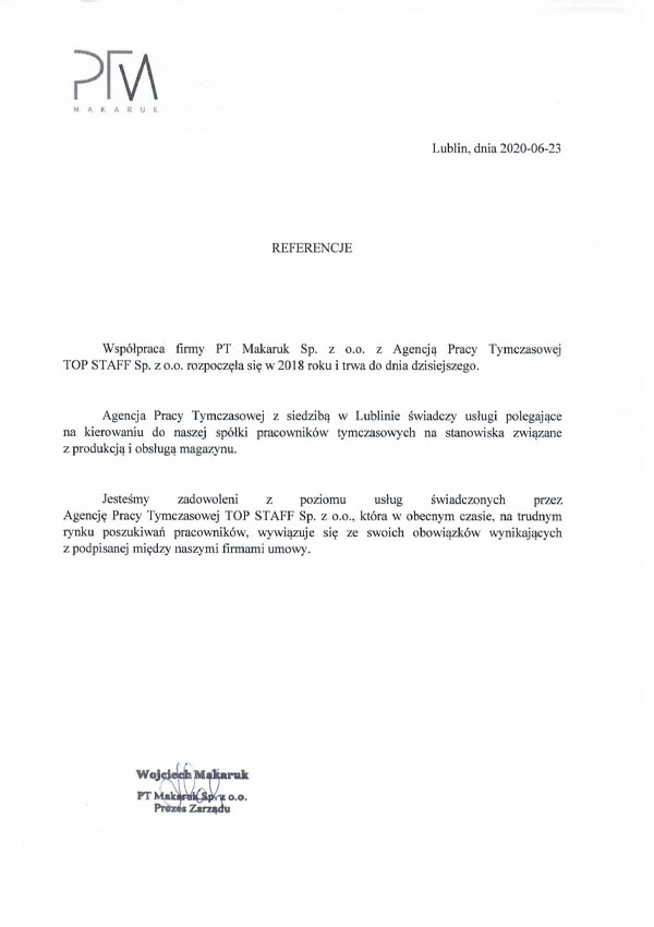 PT Makaruk - referencje