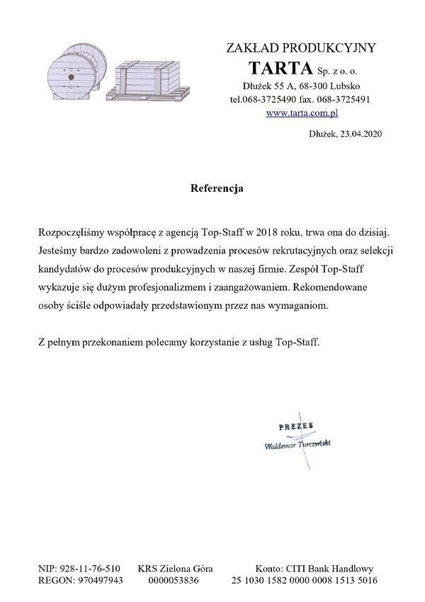 Zakład produkcyjny Tarta - referencje